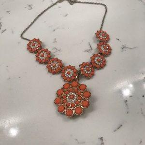 Orange & gold flowered diamond statement necklace